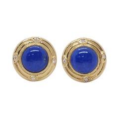 Estate Lapis Lazuli and Diamond Round Earrings in 14k Yellow Gold