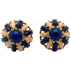 Estate Lapis Lazuli, Coral, and Diamond Clip-On Flower 18 Karat Gold Earrings