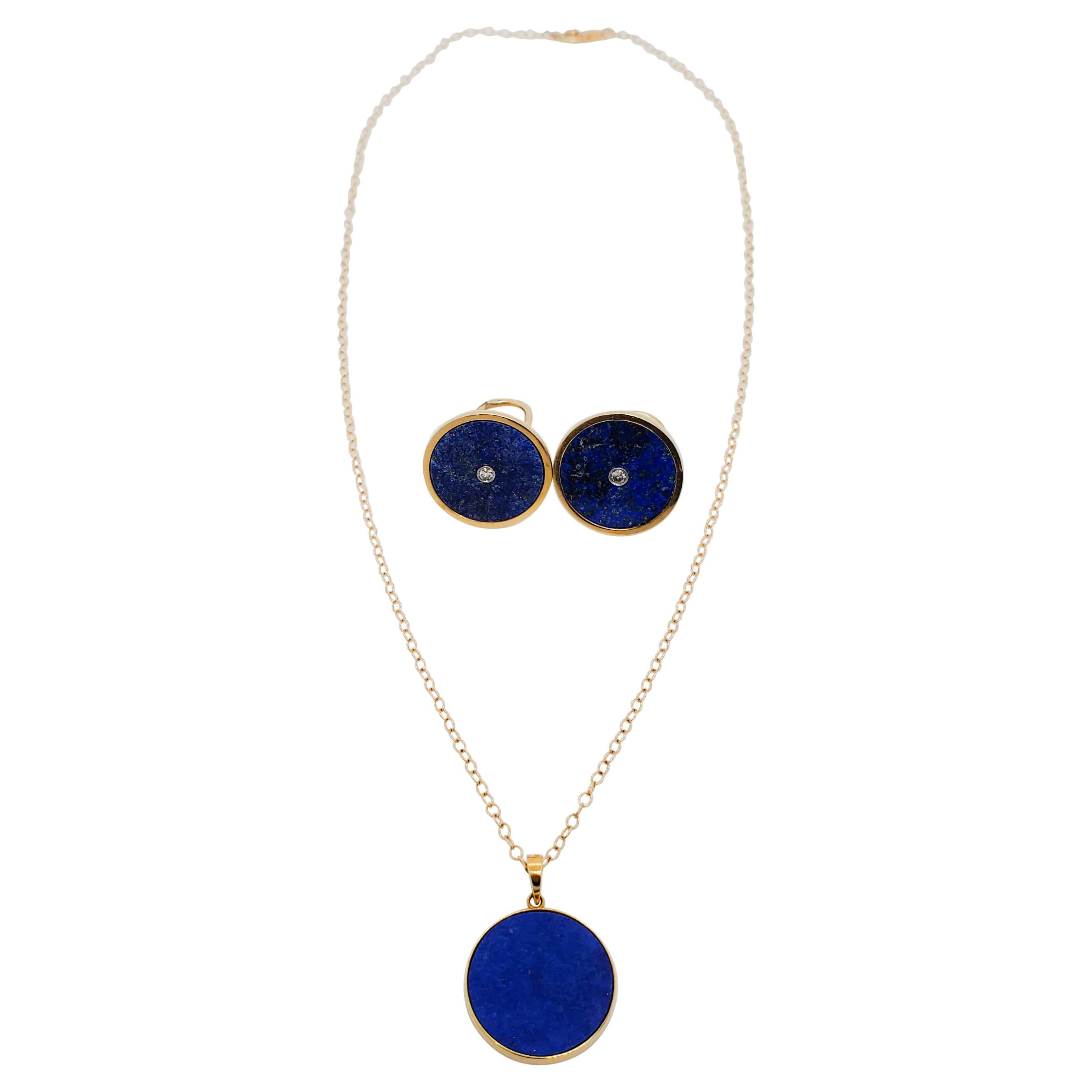 Estate Lapis Lazuli Earrings and Necklace Set in 14k Yellow Gold