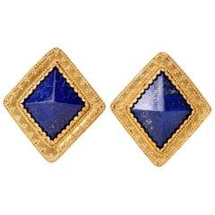 Estate Large 22 Karat Lapis Lazuli Gold Clip Earrings