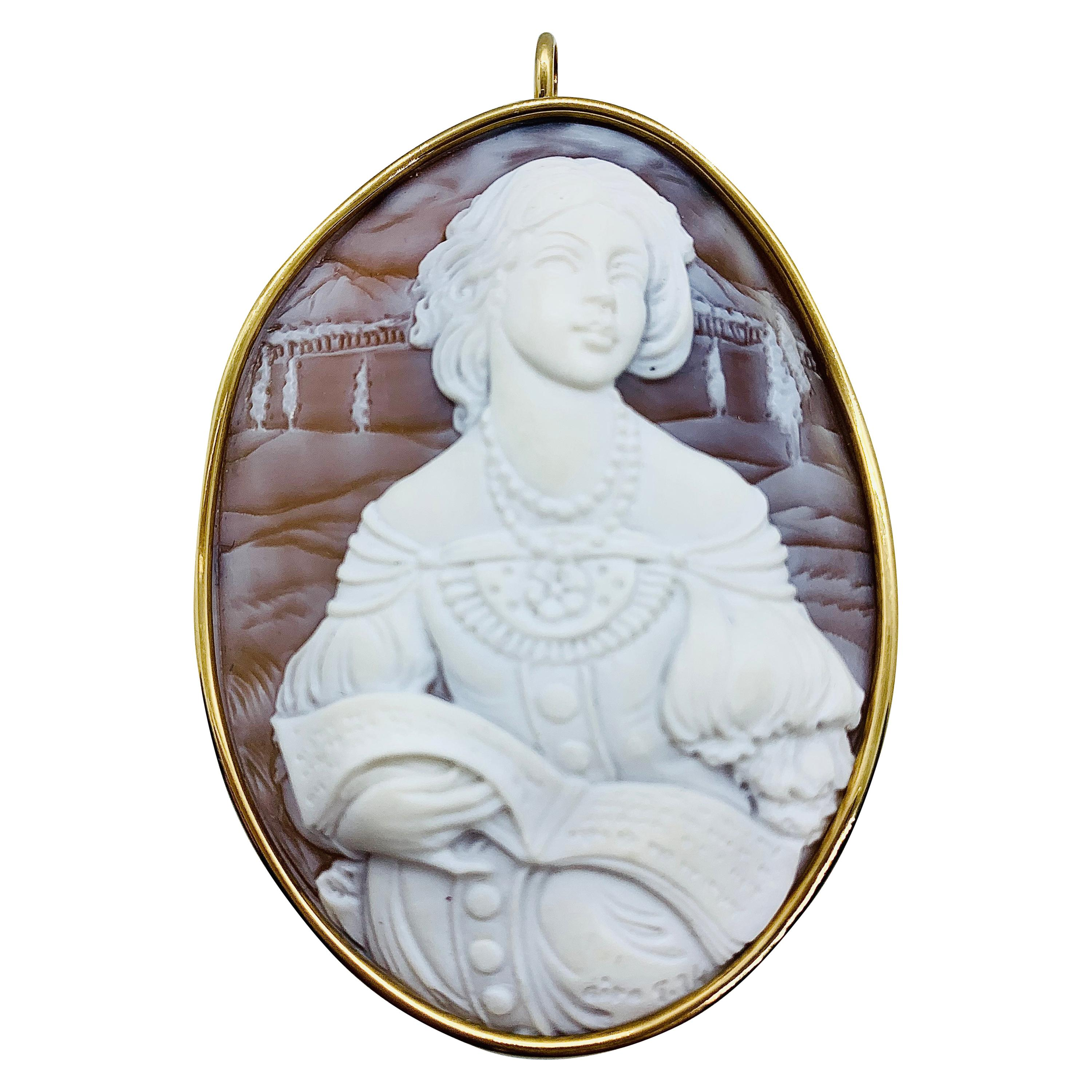 Estate Large Carved Shell Cameo Pendant / Brooch Signed Ciro