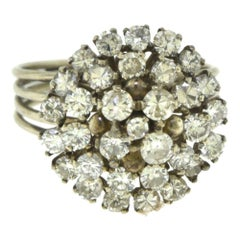 Estate Large Diamond Dome Cluster White Gold Ring