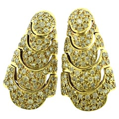Estate Large Diamond in 18 Karat Yellow Gold Cocktail Link Earrings