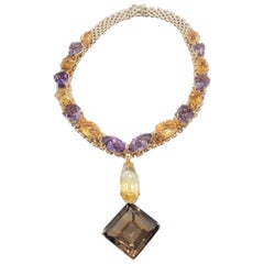 Estate Large Multi-Stone Necklace in 14 Karat Yellow Gold