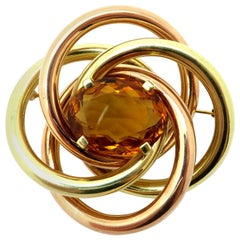 Estate Large Oval Citrine 14 Karat Rose and Yellow Gold Circle Brooch or Pin