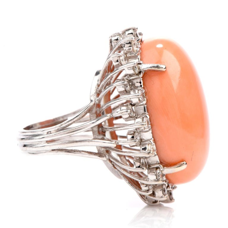 Estate Large Pink Coral Diamond Gold Cocktail Statement Ring In Excellent Condition For Sale In Miami, FL