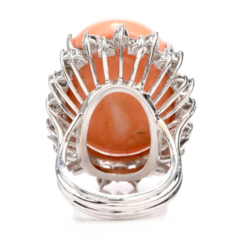 Women's or Men's Estate Large Pink Coral Diamond Gold Cocktail Statement Ring For Sale