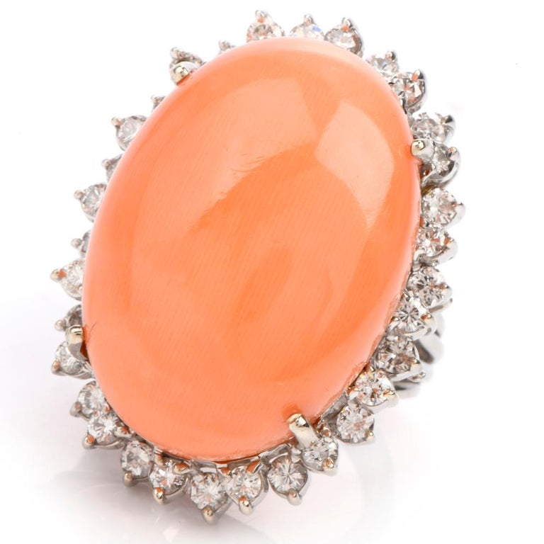 Estate Large Pink Coral Diamond Gold Cocktail Statement Ring For Sale 1