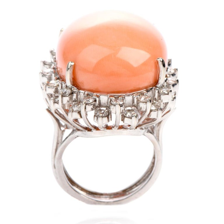Estate Large Pink Coral Diamond Gold Cocktail Statement Ring For Sale 2