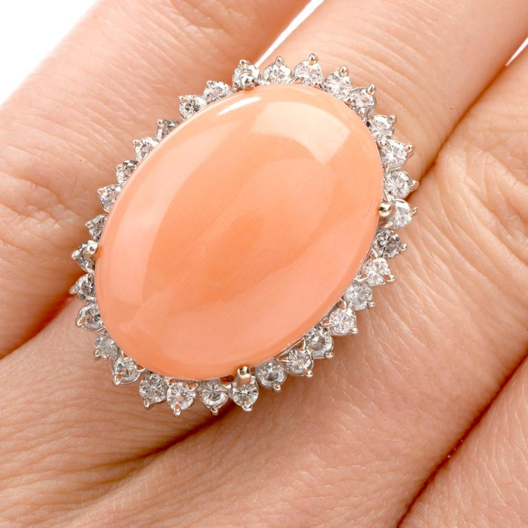 Estate Large Pink Coral Diamond Gold Cocktail Statement Ring For Sale 3