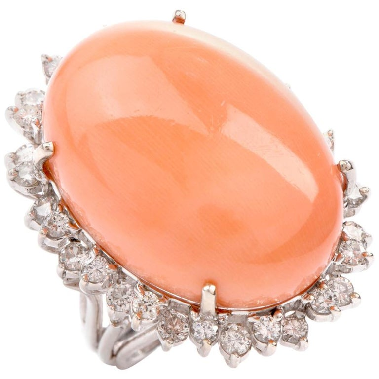 Estate Large Pink Coral Diamond Gold Cocktail Statement Ring For Sale