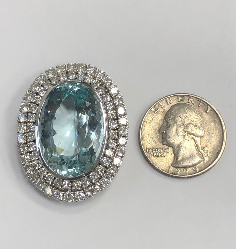 Estate Large White Gold Diamond Aquamarine Pin In Good Condition For Sale In New York, NY