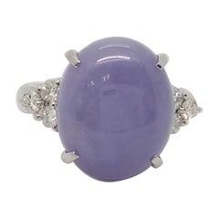 Estate Lavender Jade and Diamond Cocktail Ring in Platinum