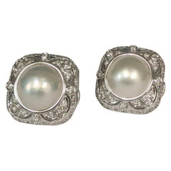 Estate Mabe Pearl and Diamond Button Earrings