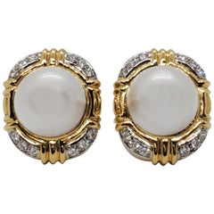 Estate Mabe White Pearl and Diamond Clip-On Earrings in 18 Karat Gold