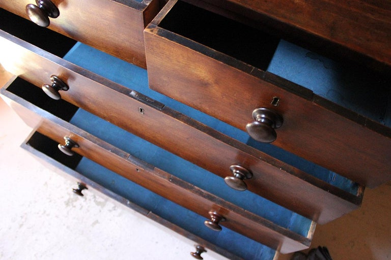 English Estate Made Cherrywood and Mahogany Chest of Drawers, circa 1870 For Sale