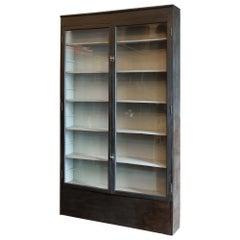 Estate Made Grey Painted Mahogany Glazed Bookcase