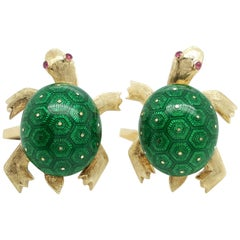 Estate Martine 14 Karat Yellow Gold Green Guilloche Enamel Turtle Cufflinks
