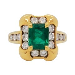 Estate Mauboussin Colombian Emerald Cocktail Ring in 18k Yellow Gold