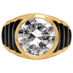 Estate Mauboussin Designer 18 Karat Gold 5.10 Carat Diamond Mother of Peal Ring