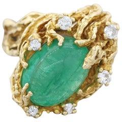Estate Midcentury Free Form 14 Karat Diamond Emerald Cocktail Ring