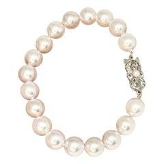 Estate Mikimoto Large Strand 18 Karat Bracelet Certified