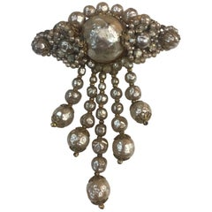 Estate Miriam Haskell Faux Pearl Rhinestone Cascade Dangle Brooch Pin