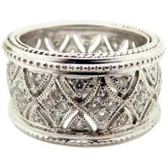 Estate Modern 18 Karat White Gold Round Diamond Eternity Band Fashion Ring