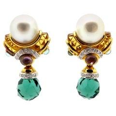 Estate Multi-Color 18 Karat Yellow Gold Tourmaline and Diamond Earrings