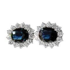Estate Natural Blue Sapphire Diamond Earrings 18 Karat