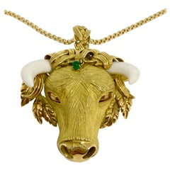 Estate Natural Ivory and Emerald Bull Pendant Brooch 18 Karat Yellow Gold