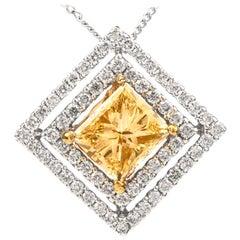 Estate Natural Princess Yellow 1.96 Carat Diamond 18 Karat Gold Square Pendant