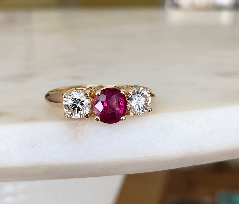 4 Ct Oval Cut Pink Ruby Bezel Set Trilogy Engagement Ring 14k Yellow Gold Over