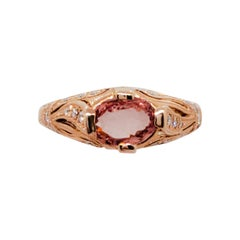 Estate No Heat AIGS Padparadscha Oval and Diamond Ring in 14k Rose Gold