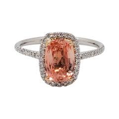 Estate No Heat GIA Padparadscha Cushion and White Diamond Ring