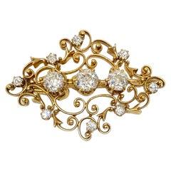 Estate Old European Cut Diamonds Scroll 18 Karat Gold Brooch Pendant 1.50 Carat