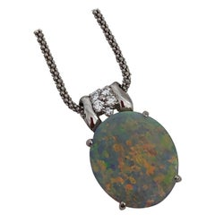 Estate Opal and Diamond Pendant Necklace in Platinum