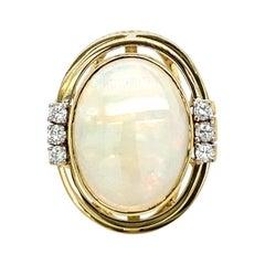 Estate Opal Diamond Gold Ring