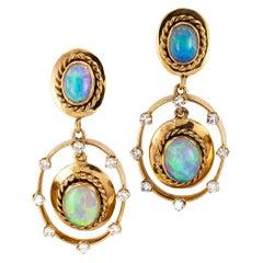 Estate Opal Diamond Yellow Gold Drop Earrings