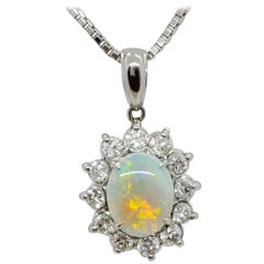 Estate Opal Oval and White Diamond Pendant Necklace in Platinum