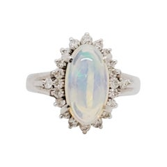 Estate Opal Oval Cabochon and White Diamond Cocktail Ring