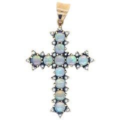Estate Opal Pearls Gold Pendant