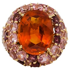 Estate Orange Sapphire and Pink Tourmaline Cocktail Ring in 18k Yellow Gold