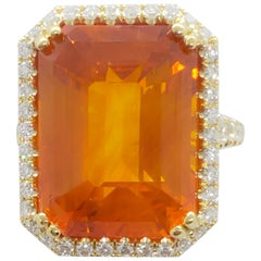 Estate Orange Sapphire Octagon and White Diamond Cocktail Ring in 18 Karat Gold