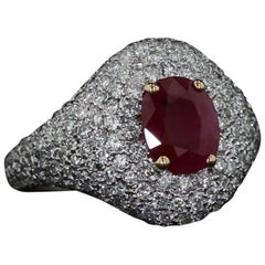 Estate Oval Cut Ruby and Diamond Pave Ring