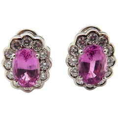 Estate Oval Pink Sapphire and Round Diamond Halo Earrings 18 Karat White Gold
