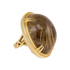 Estate Oversized Gold and Rutilated Quartz Ring