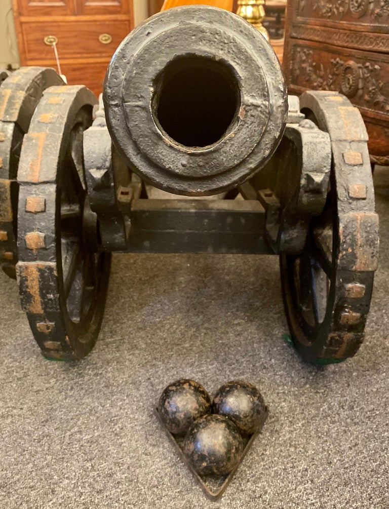 20th Century Estate Pair of Cast Iron Reproduction 19th Century American Cannons and Caissons For Sale
