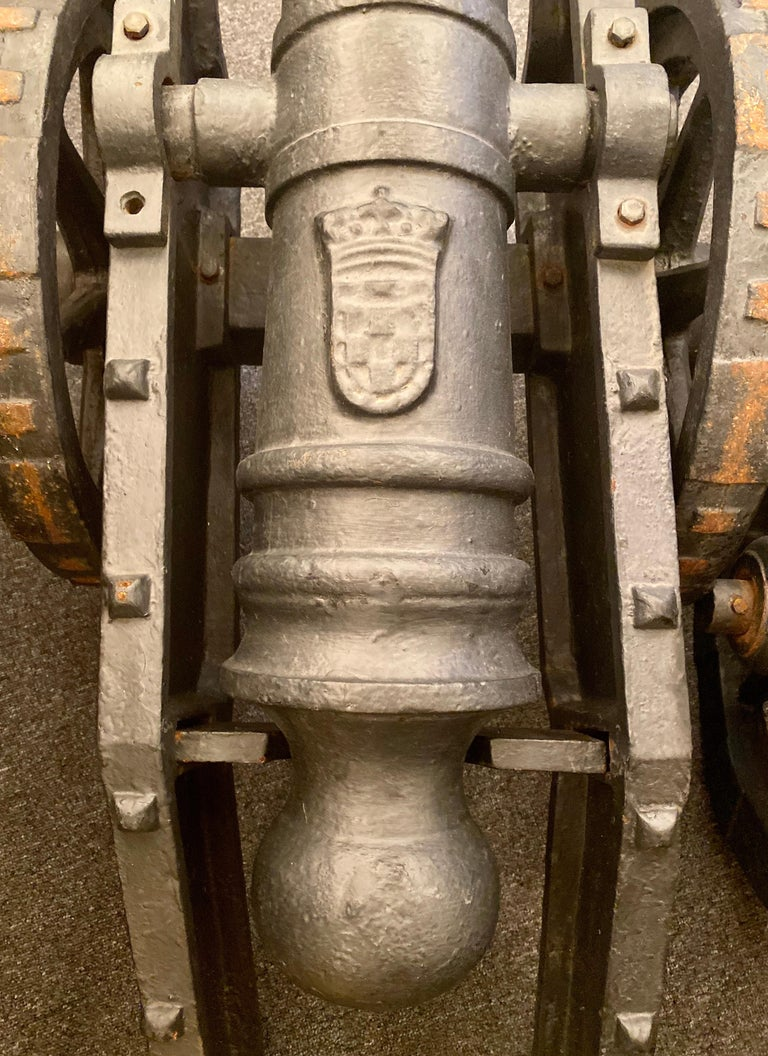 Estate Pair of Cast Iron Reproduction 19th Century American Cannons and Caissons For Sale 1
