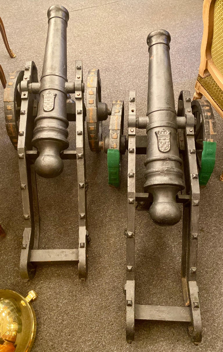 Estate Pair of Cast Iron Reproduction 19th Century American Cannons and Caissons For Sale 2